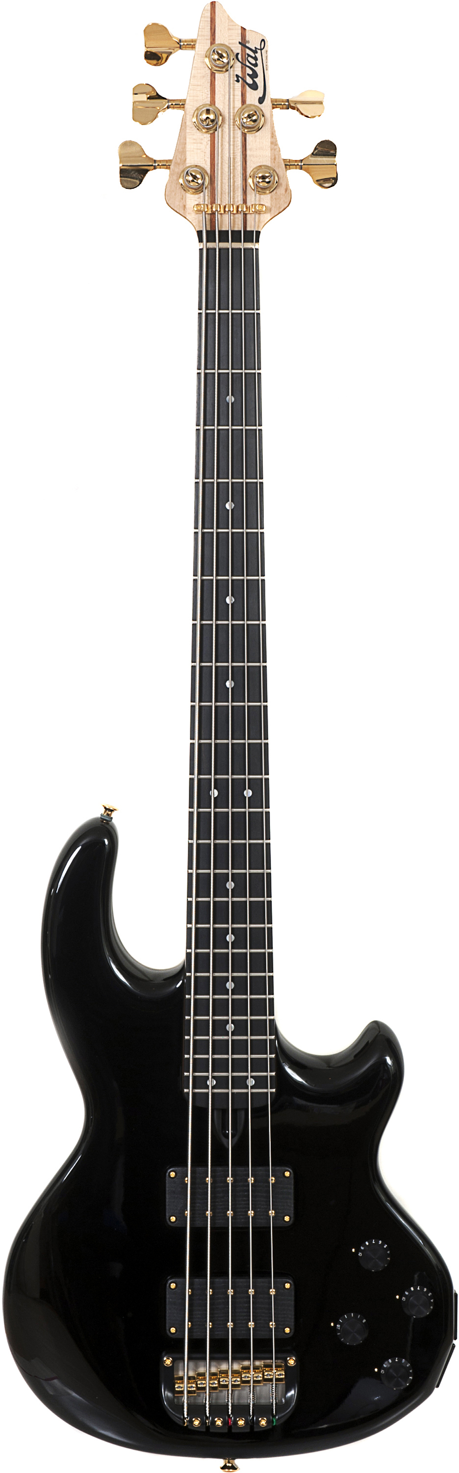 5-string Mk2 with gloss black body finish, a fretted ebony fingerboard and gold hardware.