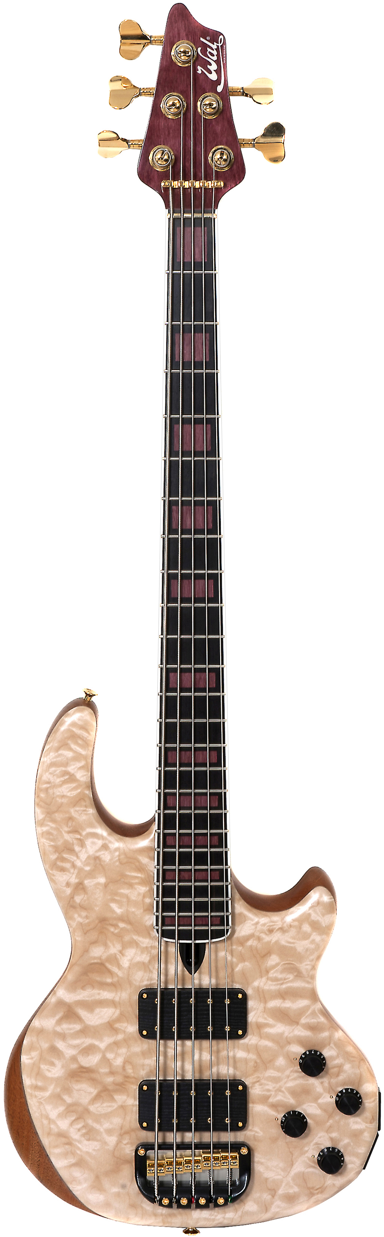 5-string Mk2 with quilted maple facings, a fretted ebony fingerboard with purpleheart block inlays, purpleheart headstock veneer and gold hardware.