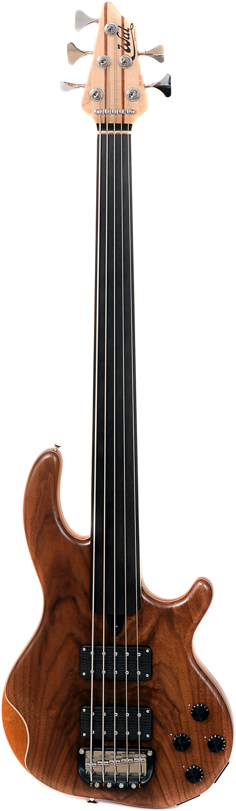 5-string Mk3 with American walnut facings and a plain fretless ebony fingerboard.