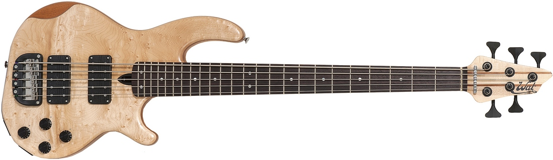 5-string Mk3 with birdseye maple facings and black tuners.