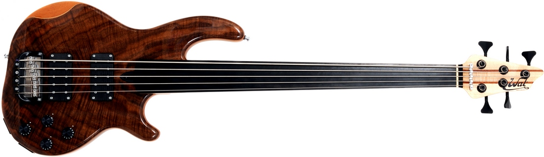 5-string Mk3 with claro walnut facings, a plain fretless ebony fingerboard and black tuners.