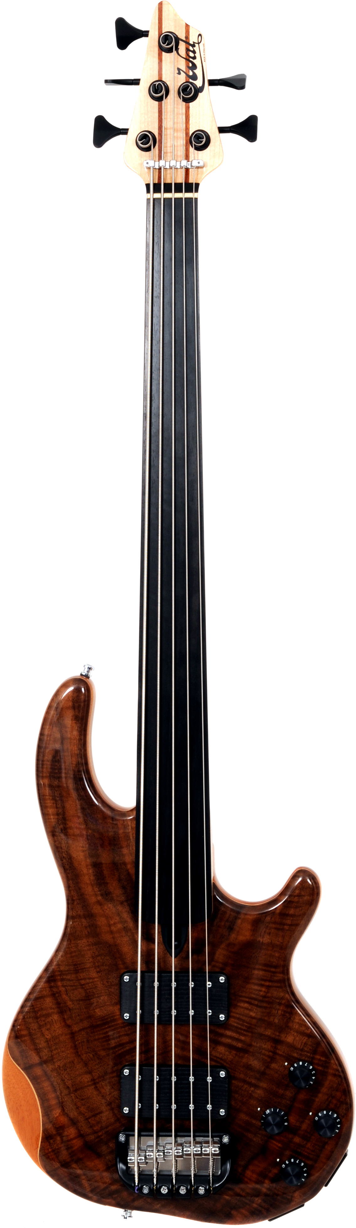 5-string Mk3 with claro walnut facings and a plain fretless ebony fingerboard.