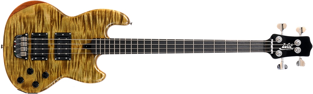 Mk1 with stained sycamore facings, a gloss black neck and fretted ebony fingerboard.