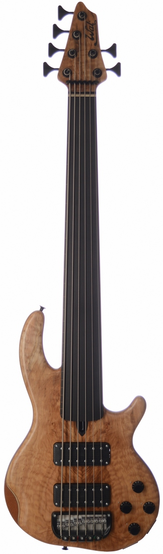 6-string Mk3 with quilted, spalted maple facings, a fretless ebony fingerboard with edge lines, and black tuners & retainer.