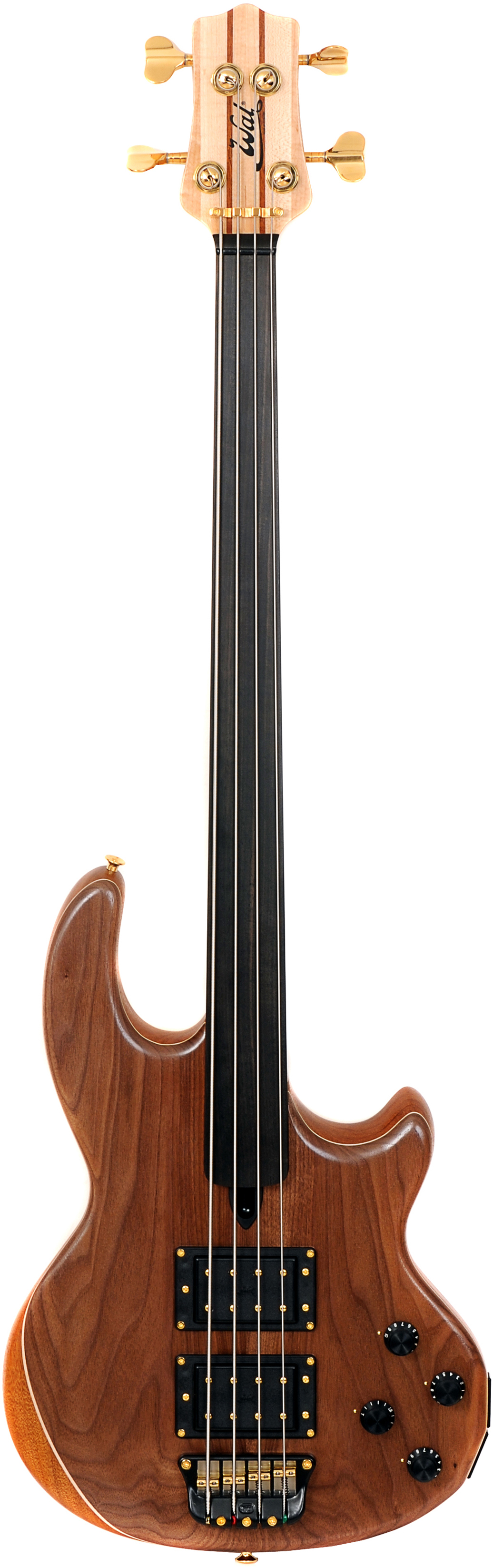 4-string Mk2 with American walnut facings, plain fretless ebony fingerboard and gold hardware.
