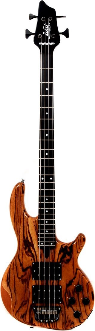 4-string Mk3 with zebrano facings, a gloss black neck finish, a fretted ebony fingerboard and black tuners.