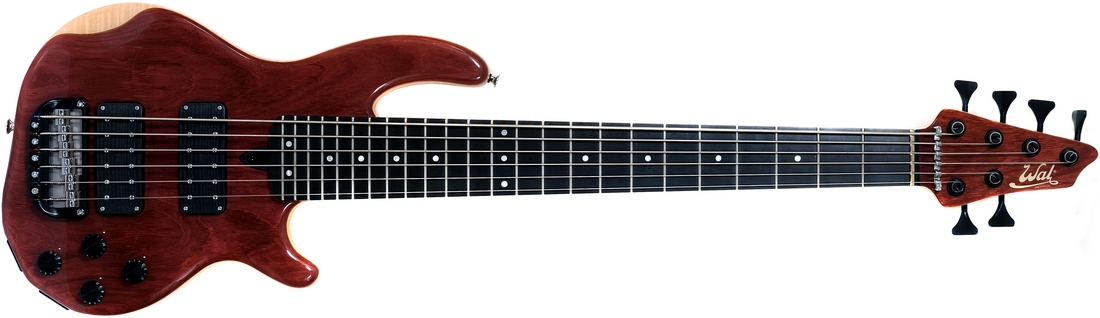 6-string Mk3 with purpleheart facings, sycamore body core, a fretted ebony fingerboard and black tuners.