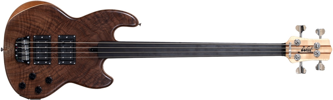 Mk1 with claro walnut facings and a plain fretless ebony fingerboard.