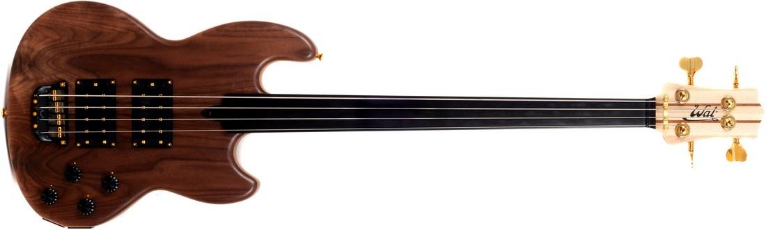 Mk1 with claro walnut facings (no forearm contour), a plain fretless ebony fingeboard and gold hardware.