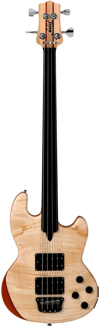 Mk1 with sycamore facings and a plain fretless ebony fingerboard.