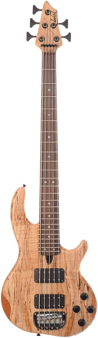 5-string Mk3 with spalted maple facings, a macassar ebony fingerboard and black tuners & retainer.