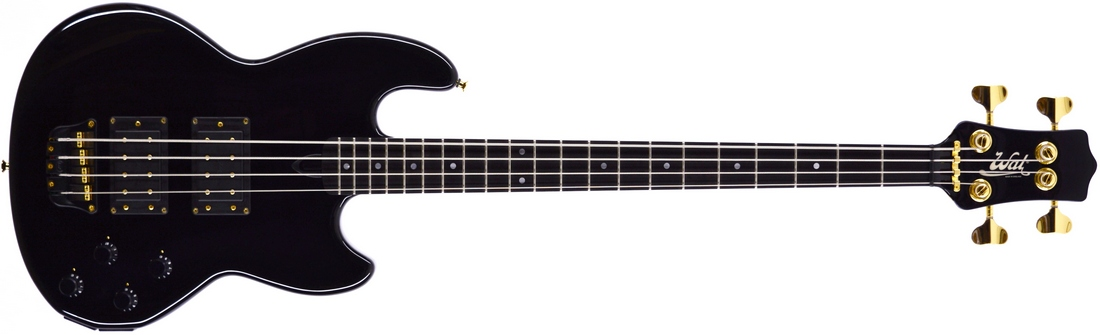 Mk1 with gloss black body and neck finish, an ebony fingerboard and gold hardware.